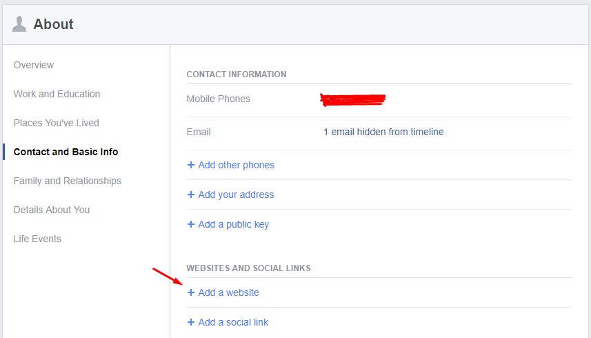 Facebook Website Addition